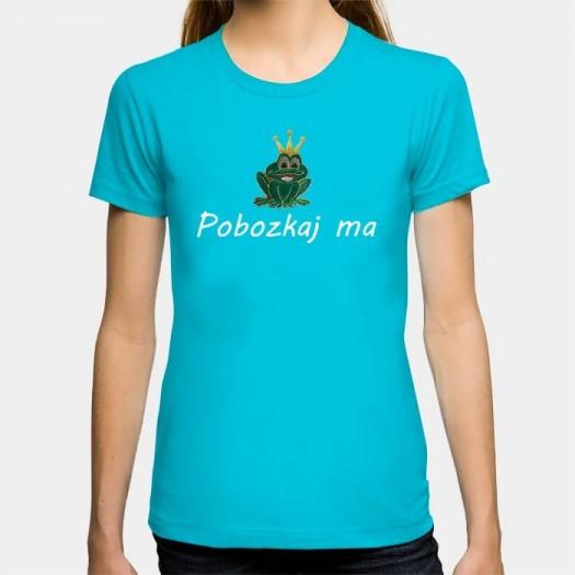 Dámske humorné tričko s výšivkou: Pobozkaj ma + žaba