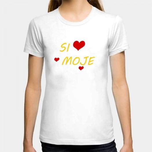 Dámske humorné tričko s výšivkou: Si moje + srdce
