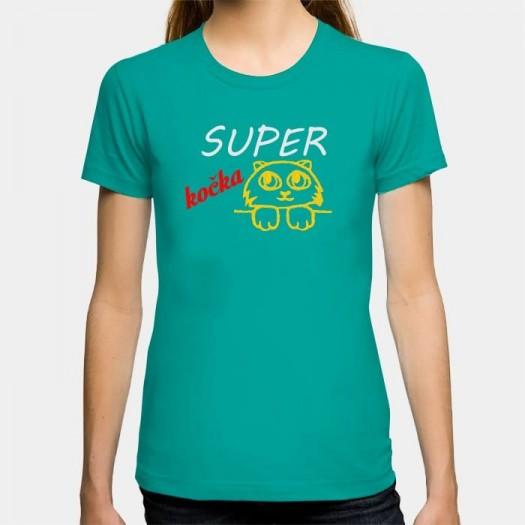 Dámske humorné tričko s výšivkou: Super kočka + mačka