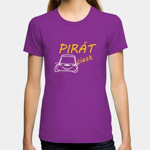 Dámske humorné tričko s výšivkou: PIRÁT ciest + auto