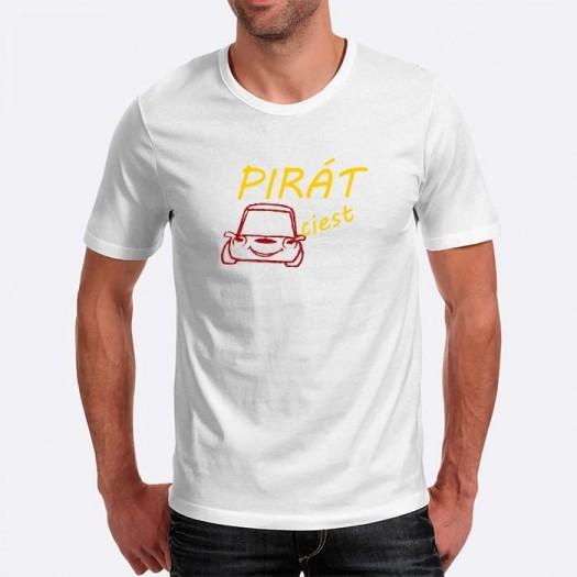 Pánske humorné tričko s výšivkou: PIRÁT ciest + auto