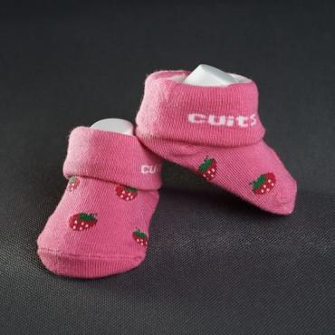 Dojčenské papučky: ružové s jahôdkami