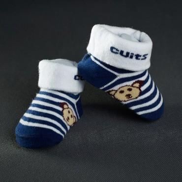Dojčenské papučky: bielo- modré pásiky