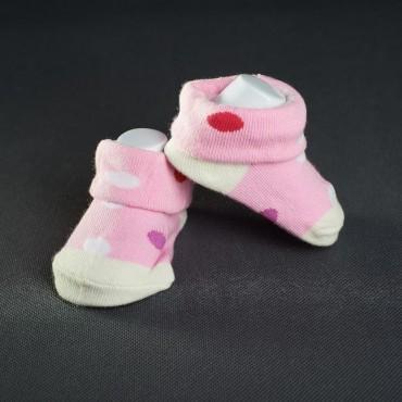 Dojčenské papučky: ružovo - biele s bodkami