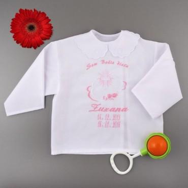 Krstová košieľka - dievčenská: Kríž so žiarou s kvetmi