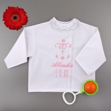 Krstová košieľka - dievčenská: Srdce, mašľa, kríž