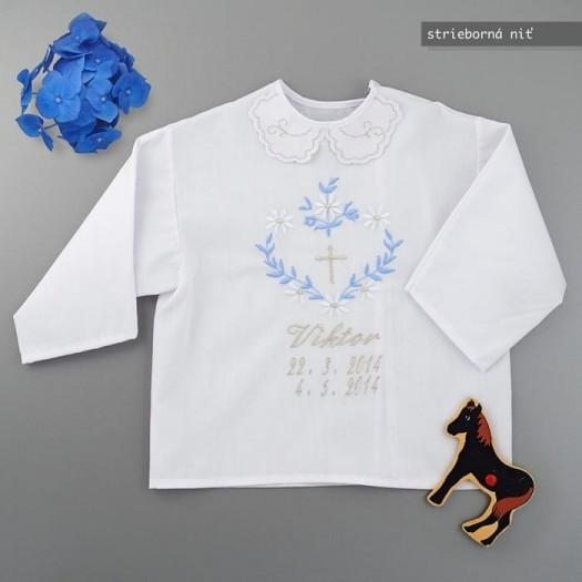 Krstová košieľka - strieborná: Veľké srdce s holubicou