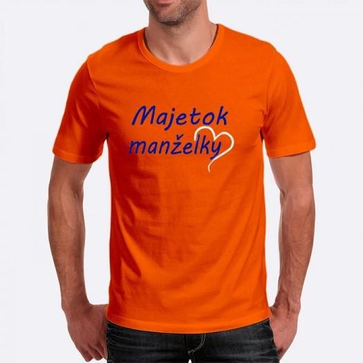 Pánske humorné tričko s výšivkou: Majetok manželky + polsrdce
