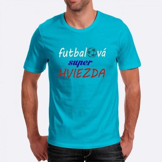 Pánske humorné tričko s výšivkou: futbalová super HVIEZDA + futbalka