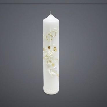 Svadobná sviečka - ružičky biele