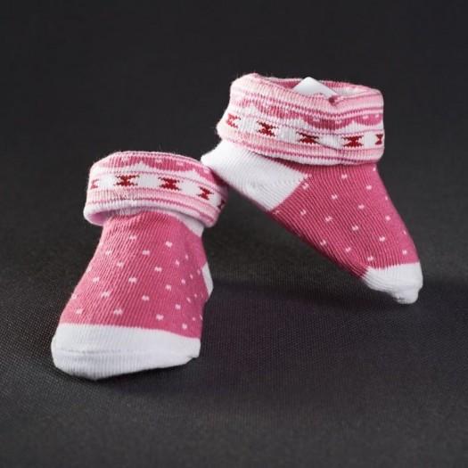 Dojčenské papučky: ružové s bodkami