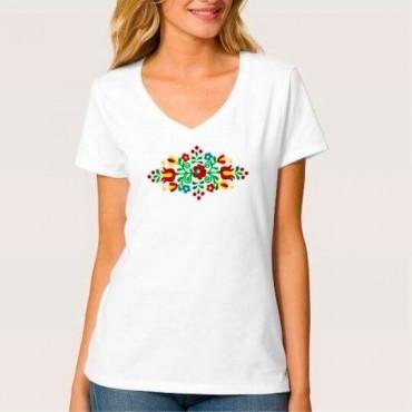 Folklórne tričko krátky rukáv s výšivkou jednofarebné srdce vzor č.8