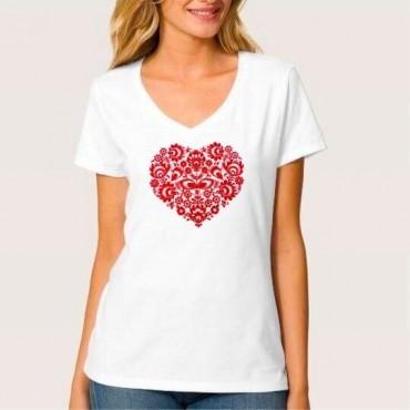 Folklórne tričko krátky rukáv s výšivkou jednofarebné srdce vzor č.9