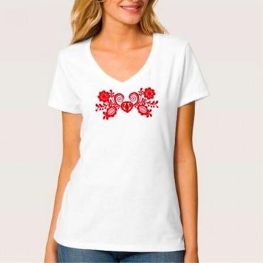 Folklórne tričko krátky rukáv s výšivkou jednofarebné srdce vzor č.11